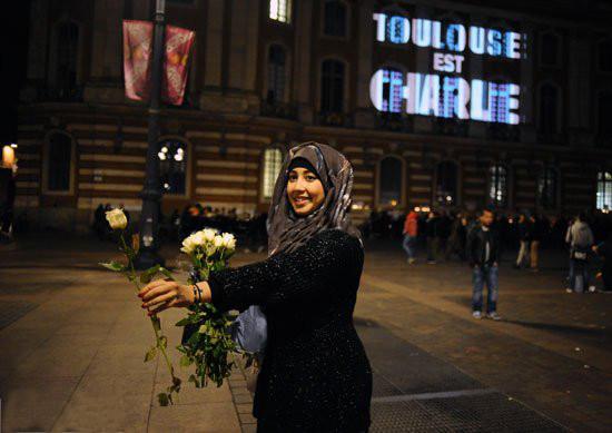 Muslim Girl Distributing Roses
